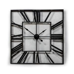 Extra Large Black Square Skeleton Clock