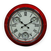 Multi Dial Red Kitchen Clock