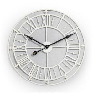 Fleur de Lys Cream Skeleton Clock medium