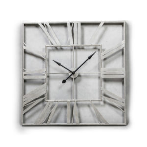 Extra Large Silver Square Skeleton Clock