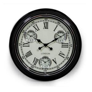 Multi dial black clock with cream face