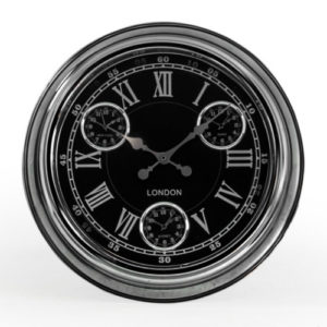Multi dial clock chrome with black face