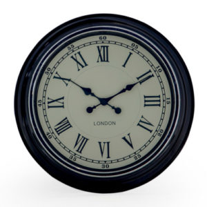 London Black Clock with cream face