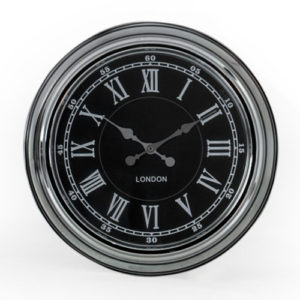 London Chrome with Black face clock