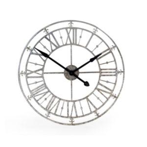Fleur de Lys Medium Silver Skeleton clock