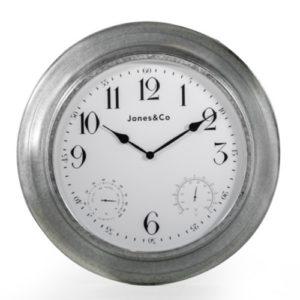 Galvanised metal wall clock large