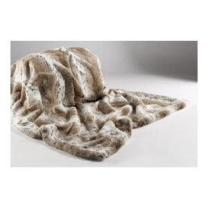 Tan Lynx Faux Fur Throw