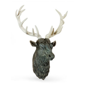 Stone Stags Head with antique white antlers