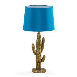 Cactus Lamp with Turquoise shade