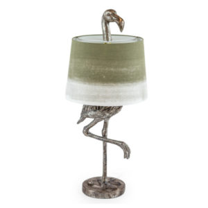 Flamingo Lamp Silver with Sage Fade Shade