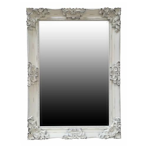 Juliette Rectangular Wall Mirror Antiqued White