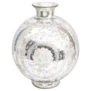 Etched Glass Bulbous Vase