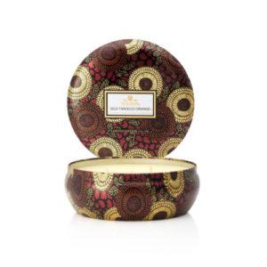 Voluspa Goji and Tarraco Orange Scented Candle in a tin
