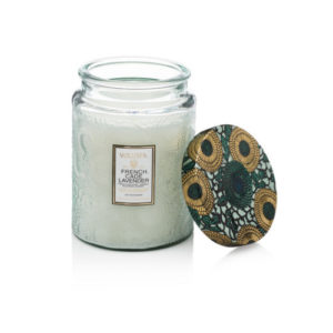 Voluspa French Cade and Lavender scented candle in a jar