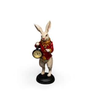 Alice in Wonderland Rabbit with Red Jacket and Clock