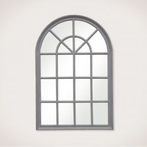 Elsa Small Arched Window Mirror distressed grey