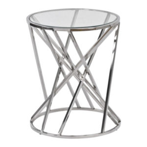Nickel swirl side table with glass top