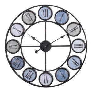 Blue grey skeletal clock with roman numerals